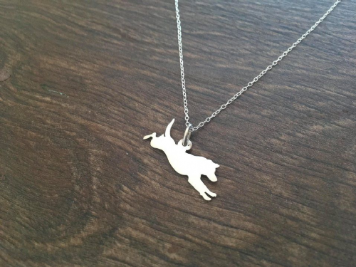 Diving Labrador dog pendant sterling silver handmade by saw piercing